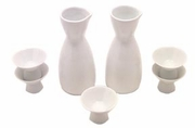 white porcelain sake set