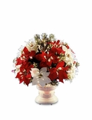 "26"" Fiber Optic Ice Red & White Poinsettia Bush"
