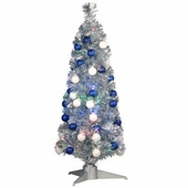 "36"" Fiber Optic Silver Tinsel Tree w/ 48 shinny Ornaments"