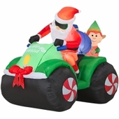 5' Santa & Elf on Four Wheeler Animated Inflatable