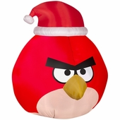 5' Red Angry Bird Wearing Santa Hat Inflatable