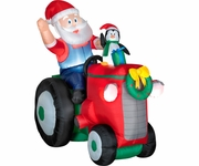 5' Santa & Penguin on Tractor Animated Inflatable