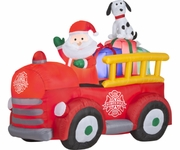 6' Santa Driving Vintage Fire Truck BlowUp