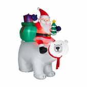 6' Santa Sitting on Polar Bear Inflatable