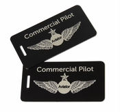 Commercial Pilot Aluminum Bag Tag, Set of Two