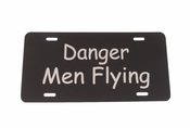 Danger Men Flying License Plate