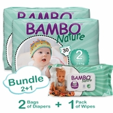 Bambo Nature Bundle 2+1 includes 2 Bags Of Diapers in Size 2 and 1 Pack of Wipes