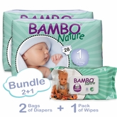 Bambo Nature Bundle 2+1 includes 2 Bags of Diapers in Size 1 and 1 Pack of Wipes