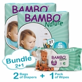 Bambo Nature Bundle 2+1 includes 2 Bags of Diapers in Size 5 and 1 Pack of Wipes