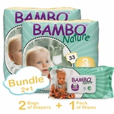 Bambo Nature Bundle 2+1 includes 2 Bags of Diapers in Size 3 and 1 Pack of Wipes