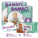 Bambo Nature Bundle 2+1 includes 2 Bags of Diapers in Size 4 and 1 Pack of Wipes