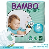 European Version - Bambo Nature Junior Premium Baby Diapers - Convenience Pack - Bag