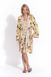 Kerry Cassill Short kimono in big yellow flower print FINAL SALE
