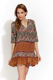 Tolani Ginger tunic in olive/pink FINAL SALE