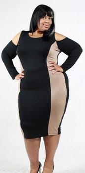 Black And Tan Color-Block Open Shoulder Dress FITTED (18-24) Online Exclusive