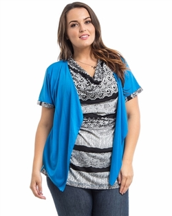Plus Size Blue open Front top Sizes 1X 2X 3X (16-22)