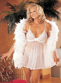 X20080-B  BACK BY POPULAR DEMAND, OUR BEAUTIFUL STRETCH LACE AND SHEER NET BABY DOLL