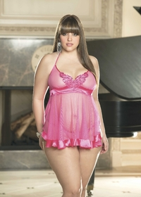 x20476 NET AND CHARMEUSE BABYDOLL