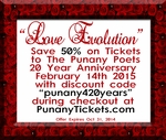 "DETROIT, MI - SATURDAY, FEB 14TH, 2015, 10:00PM (LATE SHOW) - ""Love Evolution"" @PunanyPoets 20 Year Anniversary Event - Detroit"