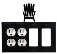 Adirondack Chairs - Double Outlet, Double GFI Cover - Wrought Iron