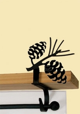 Curtain Shelf Brackets - Wrought Iron - Pine Cones Silhouette