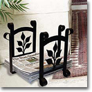 MAGAZINE RACKS / NEWSPAPER RECYCLE BINS, WROUGHT IRON