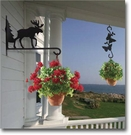 PLANT HANGERS, WALL MOUNT, HANGING, WROUGHT IRON
