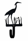 Small Decorative Wrought Iron Wall Hook - Blue Heron