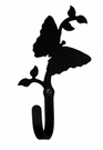 Wall Hook, Butterfly, Wrought Iron, Small