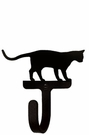 Small Decorative Wrought Iron Wall Hook - Cat At Play