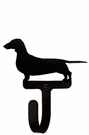 Small Decorative Wrought Iron Wall Hook - Dog, Dachsund
