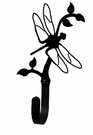 Small Decorative Wrought Iron Wall Hook - Dragonfly