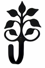 Small Decorative Wrought Iron Wall Hook - Leaf Fan
