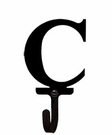 Wall Hook, Letter C, Alphabet, Wrought Iron, Small