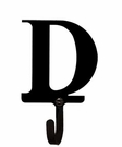 Wall Hook, Letter D, Alphabet, Wrought Iron, Small