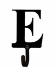Wall Hook, Letter E, Alphabet, Wrought Iron, Small