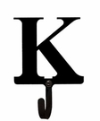 Wall Hook, Letter K, Alphabet, Wrought Iron, Small