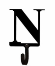 Wall Hook, Letter N, Alphabet, Wrought Iron, Small
