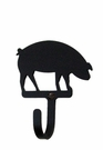 Wall Hook, Pig, Wrought Iron, Small