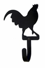 Wall Hook, Rooster, Wrought Iron, Small