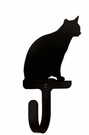 Small Decorative Wrought Iron Wall Hook - Sitting Cat