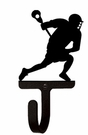 Small Decorative Wrought Iron Wall Hook - Sport, Lacrosse Player