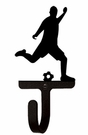 Small Decorative Wrought Iron Wall Hook - Sport, Soccer Player