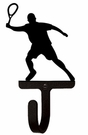 Small Decorative Wrought Iron Wall Hook - Sport, Tennis Player