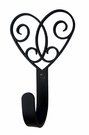 Small Decorative Wrought Iron Wall Hook - Victorian Heart