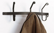 Coat Rack, Hooks, Wrought Iron, Wall Mounted, 3 Hooks