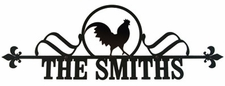 Custom House Plaque / Sign, Wrought Iron, Rooster