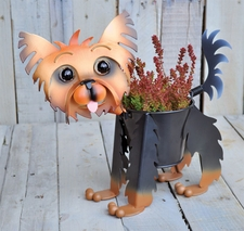 Yorkie, Metal Mini Dog Planter