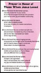 Prayer in Honor of Those Whom Jesus Loved