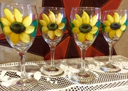 Sunflower Wine Glasses Set/4